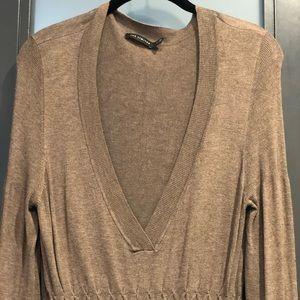 Deep v long sleeve sweater dress